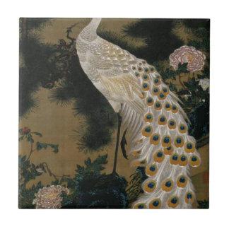 Ito Jakuchu著古い松の木そして孔雀 タイル
