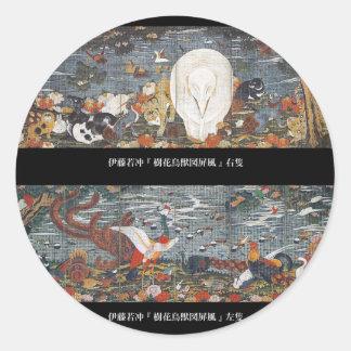Itō Jakuchū , 伊藤若冲、樹花鳥獣図屏風 ラウンドシール