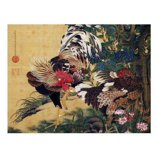 Itō Jakuchū , 伊藤若冲、紫陽花双鶏図 ポストカード