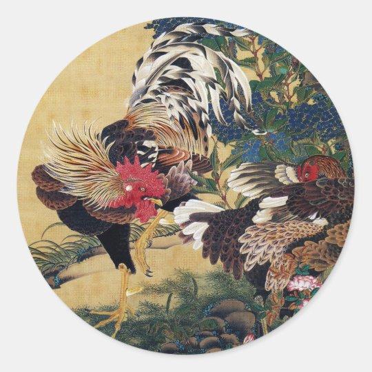 Itō Jakuchū , 伊藤若冲、紫陽花双鶏図 ラウンドシール