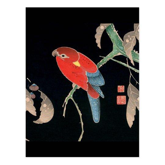 Itoh Jakuchu , 伊藤若冲、檪に鸚哥図 ポストカード
