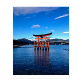 Itsukushimaの神社-郵便はがきの浮遊Torii ポストカード