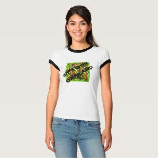 iUptownのオークランドの女性黒いトリムのティー Tシャツ