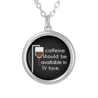IVのカフェイン、ナースのユーモア シルバープレートネックレス