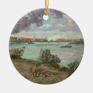 Ivryのセーヌ河そしてマルヌの合流 陶器製丸型オーナメント