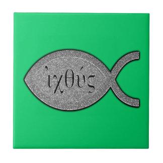 IXOYEのキリスト教の魚の記号-石造りの効果 タイル