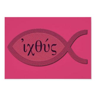 IXOYEのキリスト教の魚の記号-赤い羊皮紙 カード