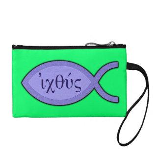 IXOYEのキリスト教の魚の記号-青い羊皮紙 コインパース
