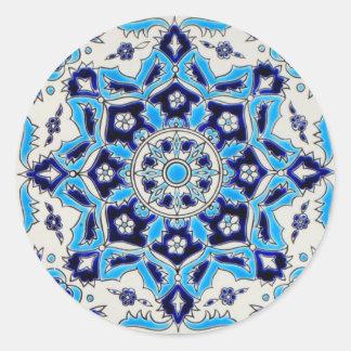 İznikの青および白い花の製陶術のタイル ラウンドシール