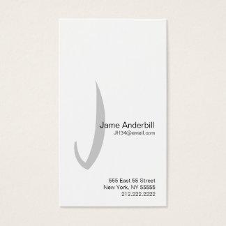 Jの手紙のアルファベットの名刺の灰色 名刺