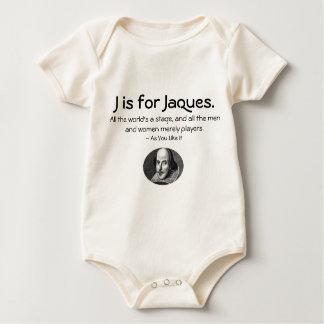 Jはジェイクスのためです • シェークスピアの小さいワイシャツ ベビーボディスーツ