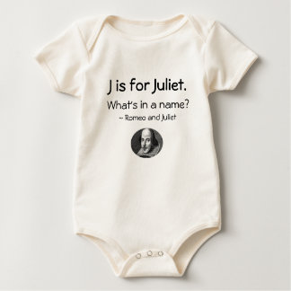 JはJulietのためです • シェークスピアの小さいワイシャツ ベビーボディスーツ