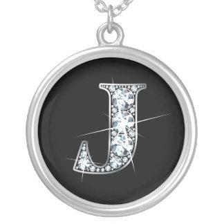 """""""J""""のダイヤモンドのきらきら光るなネックレス シルバープレートネックレス"""