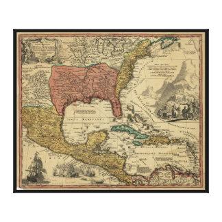 J Homann (1759年)による北及び中央アメリカの地図 キャンバスプリント