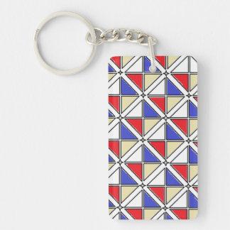 J Shaoによる長方形の(独身の味方される) Keychainの芸術 キーホルダー