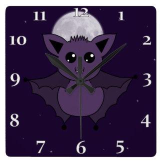 Jac夜までにこうもりの飛行 スクエア壁時計