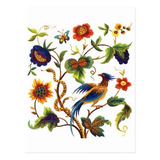 Jacobean刺繍極楽鳥 ポストカード