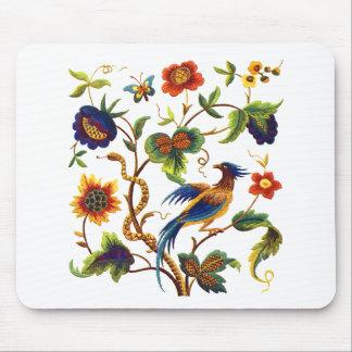 Jacobean刺繍極楽鳥 マウスパッド