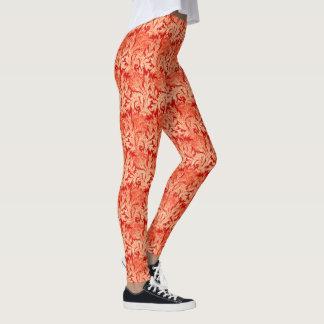 Jacobean花のダマスク織、マンダリンおよび淡いオレンジ色 レギンス