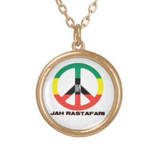 Jah RastafariのピースサインSelassie I ゴールドプレートネックレス
