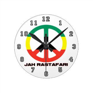 Jah RastafariのピースサインSelassie I ラウンド壁時計