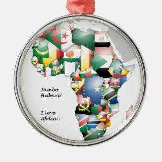 Jambo Habariアフリカ! 私はアフリカを愛します メタルオーナメント