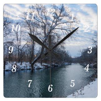 James川の冬 スクエア壁時計