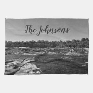 James川の美しい白黒写真 キッチンタオル