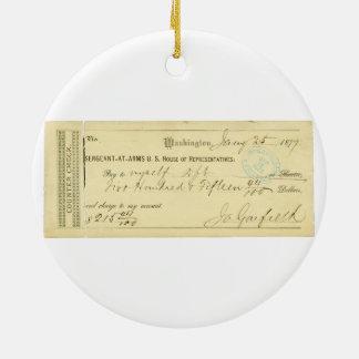 James Garfieldは1877年1月25日からの点検に署名しました セラミックオーナメント