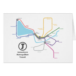 Jamestownの地下鉄の地図 カード
