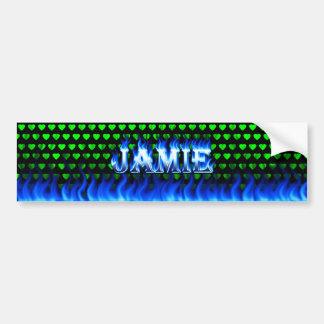 Jamieの青い火および炎のバンパーステッカーは設計します バンパーステッカー