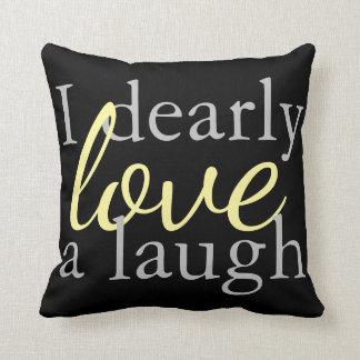 Jane Austen Throw Pillow Black & Yellow Book Quote クッション