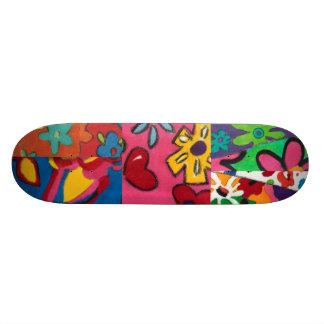 Janinaの花のパッチワーク スケートボード