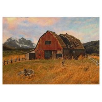 Jann Paxton著田園納屋の絵画 ウッドポスター