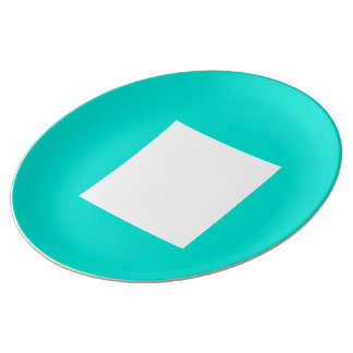 Janzのターコイズによるアールデコのディナー用大皿 磁器プレート