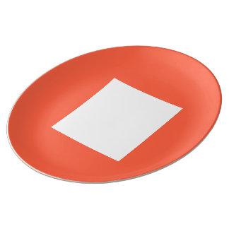 Janzのトマトの赤によるアールデコのディナー用大皿 磁器プレート