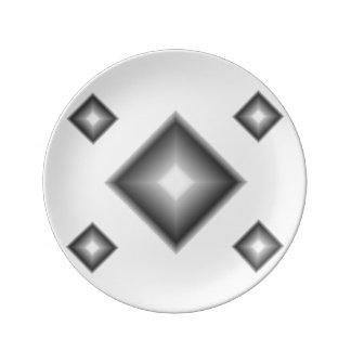 Janz著白いダイヤモンドの磁器のパンのプレート 磁器プレート
