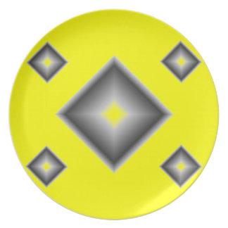 Janz著黄色いダイヤモンドのメラミンディナー用大皿 プレート