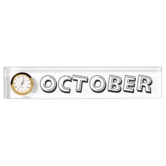 Janz著10月のアルファベットスープ机用ネームプレート