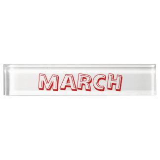Janz著3月のアルファベットスープ机用ネームプレート