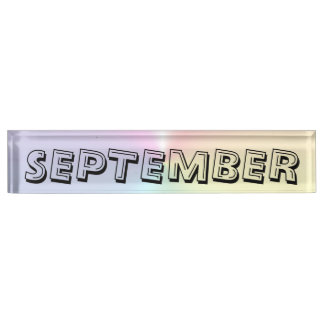 Janz著9月のアルファベットのきらめくの机用ネームプレート