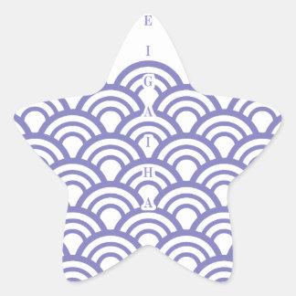 "Japanese classic pattern ""SEIGAIHA""和柄古典文様 青海波 星シール"