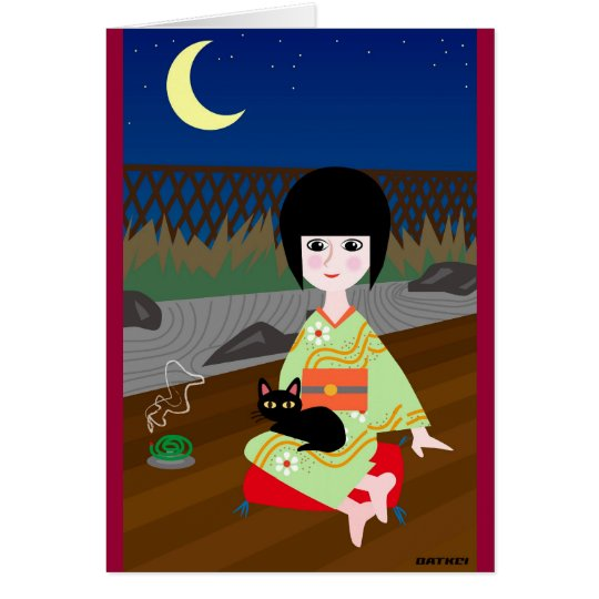 Japanese girl and kitty カード