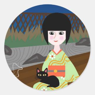 Japanese girl and kitty ラウンドシール