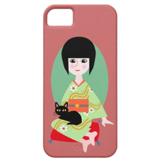Japanese girl and kitty iPhone SE/5/5s ケース
