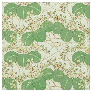 Japanese Green Art Leaf Floral repeating pattern ファブリック