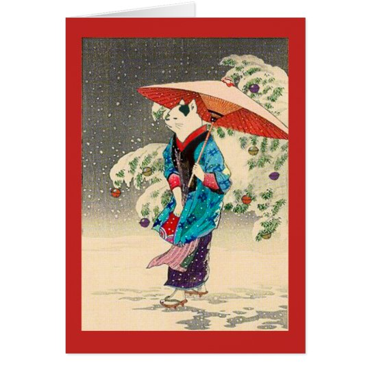 Japanese ukiyoe cat christmas カード