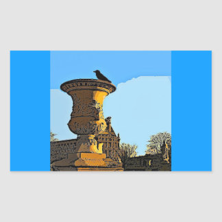 Jardin des Tuileriesのカラス-絵画 長方形シール