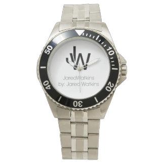 JaredWatkinsのロゴのステンレス鋼の腕時計 腕時計