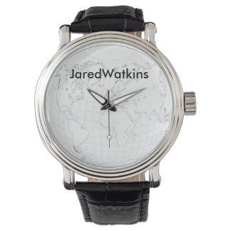 JaredWatkinsの黒いロゴの世界地図の腕時計 腕時計